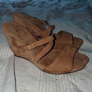 NEW Ugg Jullita Strappy Suede Wedge Sandals Cork